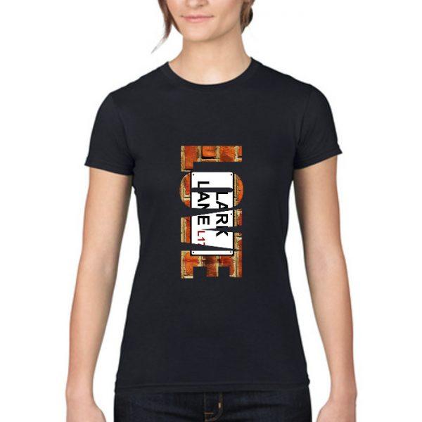 """Women's Black T-Shirt """"Love"""" Lark Lane"""